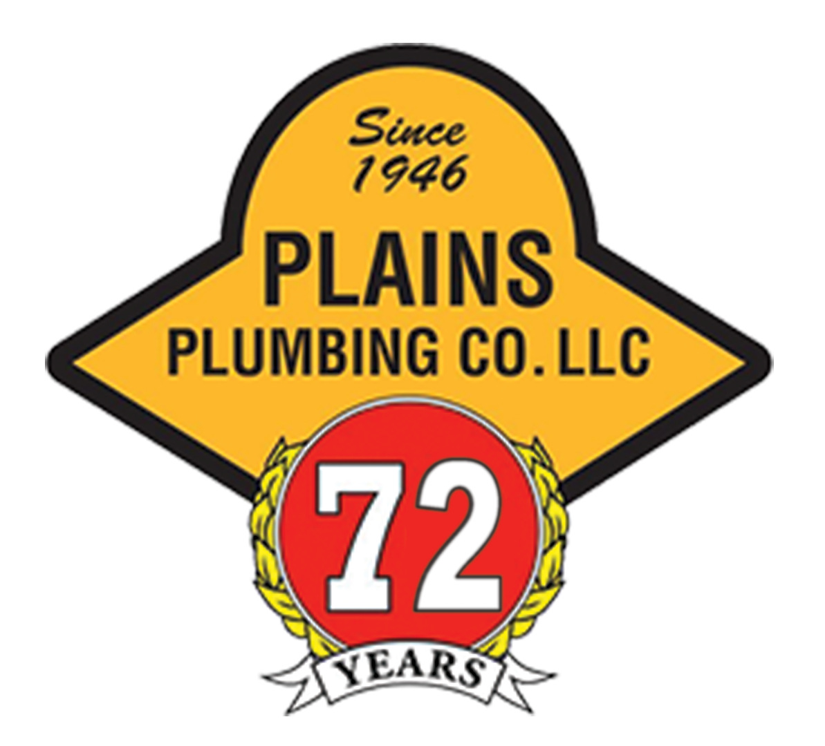 72 Years Plains Plumbing Logo